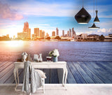 3D Sunset, Sparkling water, City Wallpaper