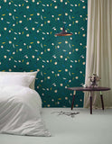 3D Vintage, Green-tones, Floral Wallpaper