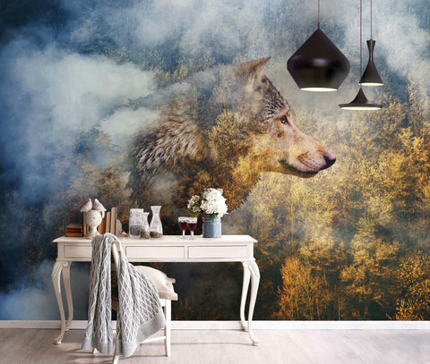 3D Spectacular, Wolf, Autumn scenery Wallpaper