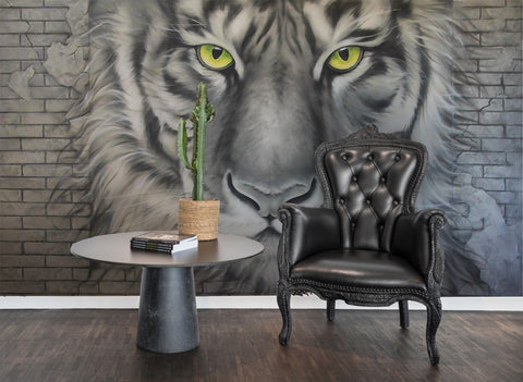 3D Wild, Fierce, Tiger head Wallpaper