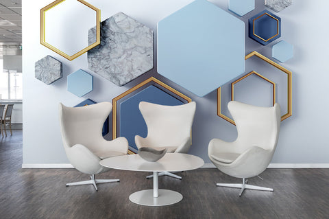 3D Abstract, Blue-tones, Hexagonal Wallpaper