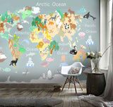 3D Kids, Cartoon, Animal, World map Wallpaper-Nursery