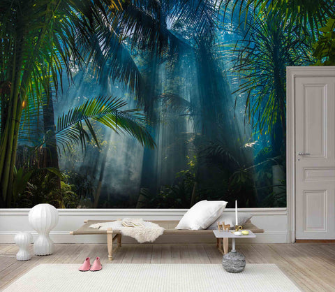 3D Mysterious, Coconut tree, Tropical rainforest scenery Wallpaper
