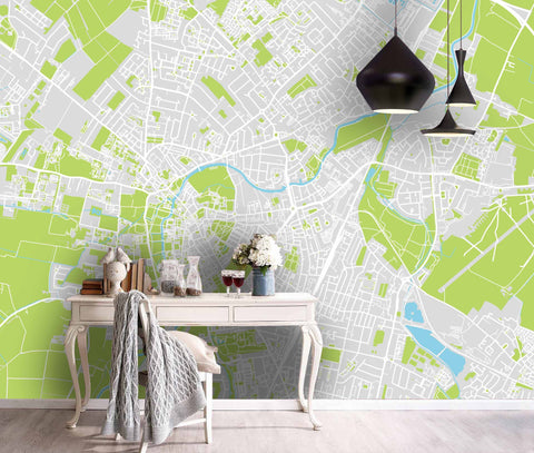 3D Green-tones, Urban texture Wallpaper