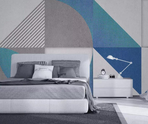 3D Blue-tones, Geometric texture Wallpaper