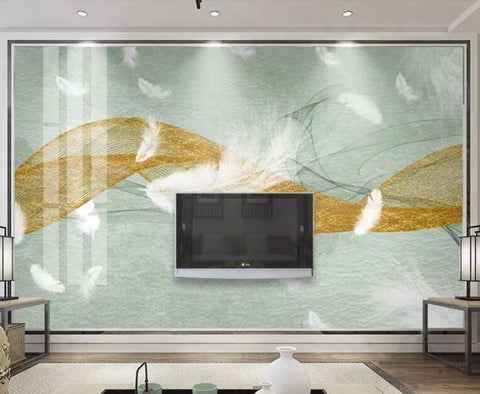 3D Cool-tones, Gold lines, Soft, Feather Wallpaper