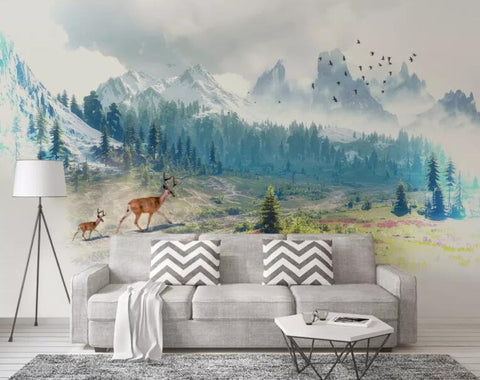 3D Hand painted, Snow mountain, Plain scenery, Deer Wallpaper
