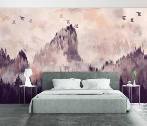 3D Chinese style, Ink painting, Dusk, Pine forest Wallpaper