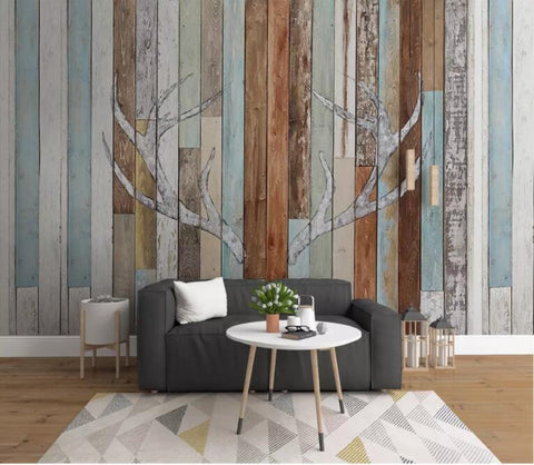 3D Vintage, Colorful, Wood grain, Antler Wallpaper