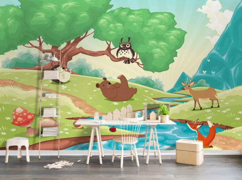 3D Kids, Cartoon, Forest, Animal Wallpaper-Nursery