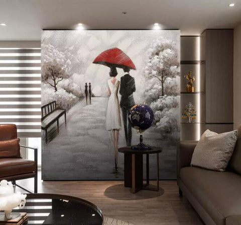 3D Romantic, In the rain, Lovers Wallpaper