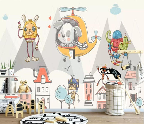 3D Kids, Cartoon, Animal, Mechanical Wallpaper-Nursery