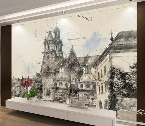 3D Hand-painted, Coventry, Old city Wallpaper