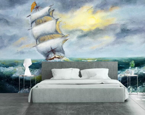 3D Hand-painted, Cloudy day, Waves, Sailboat Wallpaper