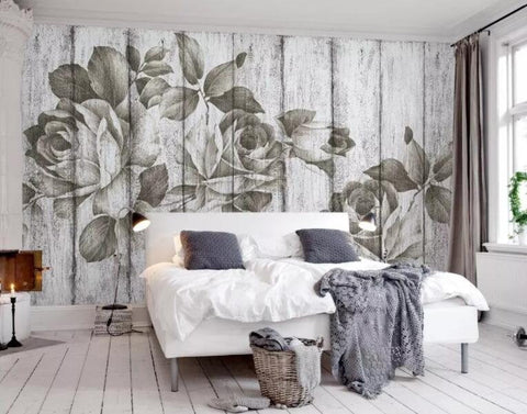 3D Dry, Wood grain, Rose Wallpaper