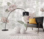 3D Vintage, Cracked concrete wall, Rose Wallpaper