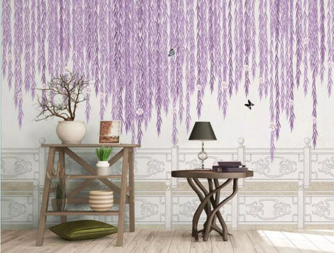 3D Purple wicker, Butterfly Wallpaper