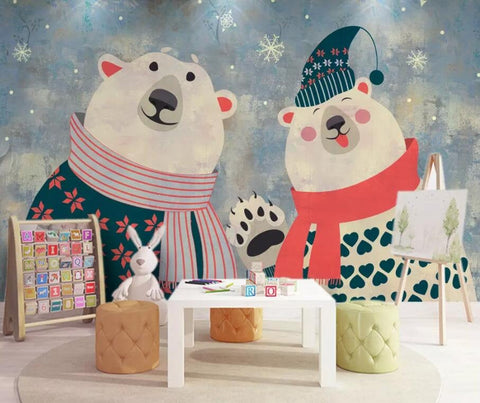 3D Kids,Cartoon,Christmas,Polar bear Wallpaper-Nursery