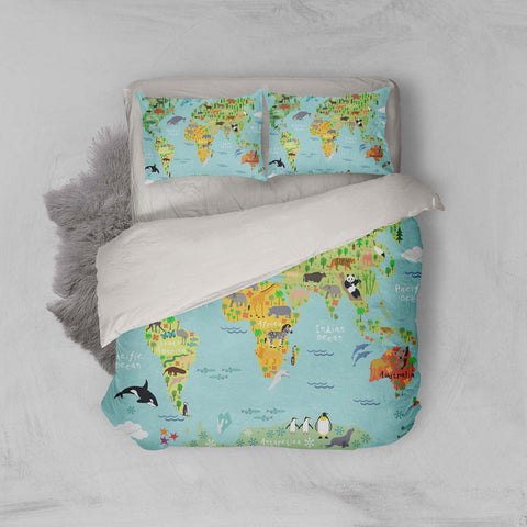 3D Cartoon, Animal, World map Bedding Set Quilt Cover Quilt Duvet Cover ,Pillowcases Personalized  Bedding,Queen, King ,Full, Double 3 Pcs
