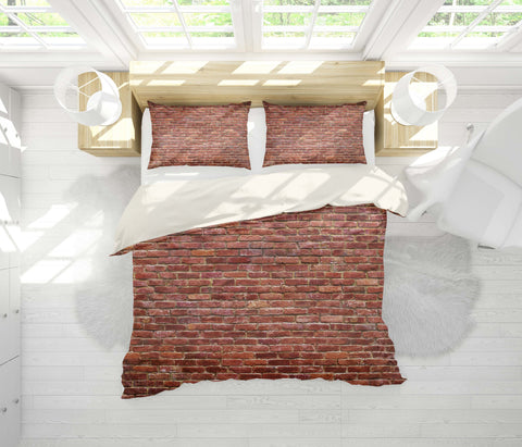 3D Realistic, Red brick Bedding Set Quilt Cover Quilt Duvet Cover ,Pillowcases Personalized  Bedding,Queen, King ,Full, Double 3 Pcs