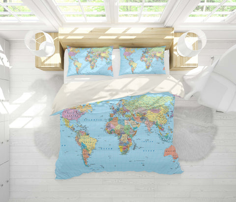 3D Details, World map Bedding Set Quilt Cover Quilt Duvet Cover ,Pillowcases Personalized  Bedding,Queen, King ,Full, Double 3 Pcs