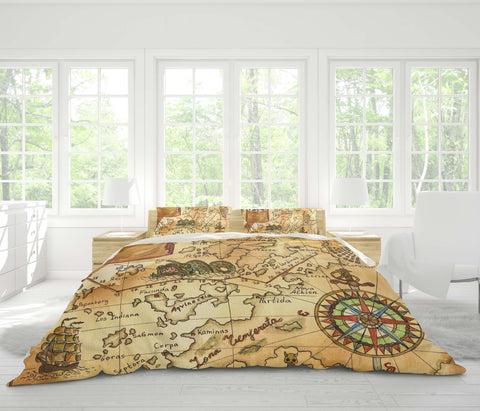 3D Vintage, Treasure map Bedding Set Quilt Cover Quilt Duvet Cover ,Pillowcases Personalized  Bedding,Queen, King ,Full, Double 3 Pcs
