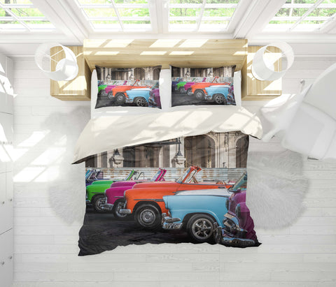 3D Vintage car Bedding Set Quilt Cover Quilt Duvet Cover ,Pillowcases Personalized  Bedding,Queen, King ,Full, Double 3 Pcs