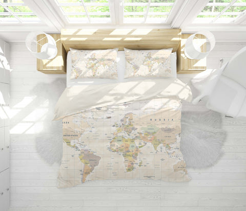 3D Warm-tones, World map Bedding Set Quilt Cover Quilt Duvet Cover ,Pillowcases Personalized  Bedding,Queen, King ,Full, Double 3 Pcs