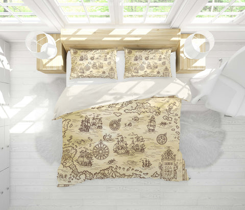 3D Treasure map Bedding Set Quilt Cover Quilt Duvet Cover ,Pillowcases Personalized  Bedding,Queen, King ,Full, Double 3 Pcs