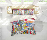 3D Colorful, Graffiti Bedding Set Quilt Cover Quilt Duvet Cover ,Pillowcases Personalized  Bedding,Queen, King ,Full, Double 3 Pcs