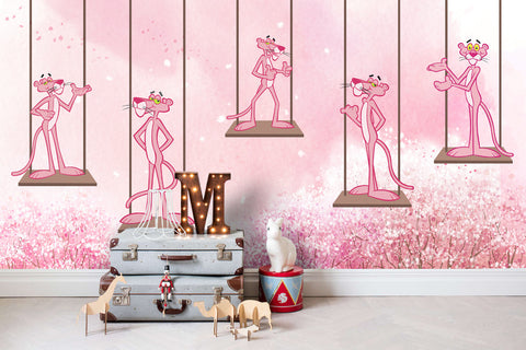 3D Kids, Pink naughty panther, Swing Wallpaper-Nursery