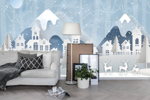 3D Kids, Cartoon, Winter, Town Wallpaper-Nursery