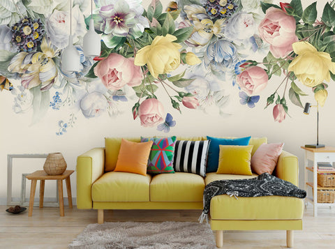 3D Vintage, Yellow-tones, Rose Wallpaper