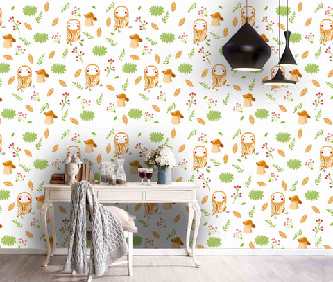 3D Kids, Cartoon, TTree branch, Owl Wallpaper-Nursery