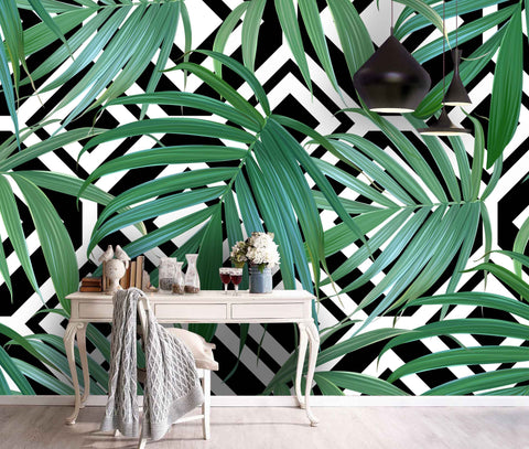 3D Hand-painted, Tropical, Palm leaf Wallpaper