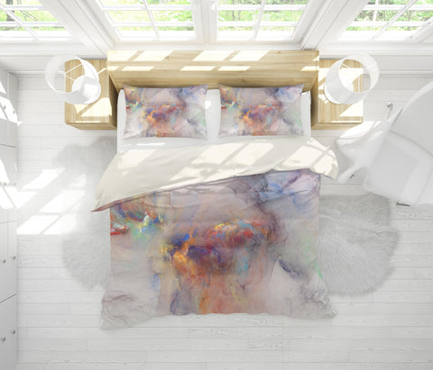 3D Multicolored, Smoke Bedding Set Quilt Cover Quilt Duvet Cover ,Pillowcases Personalized  Bedding,Queen, King ,Full, Double 3 Pcs