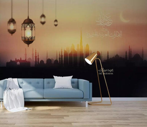 3D Illustration style, Muslim architecture, Sunset view Wallpaper