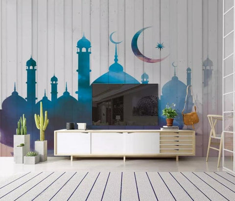 3D Blue-tones, Illustration style, Muslim architecture Wallpaper