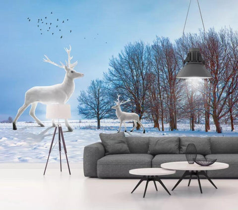 3D Pure, Snow, Forest, White deer Wallpaper