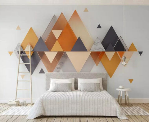 3D Orange-tones, Abstract, Triangular geometry Wallpaper