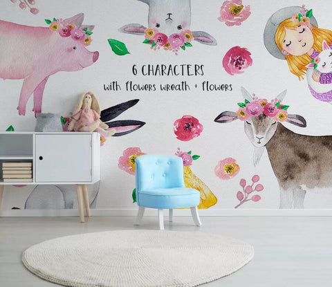 3D Kids, Watercolor, Cartoon animal Wallpaper-Nursery