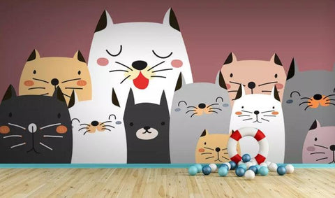 3D Kids, Cartoon, Cute, Cat Wallpaper-Nursery