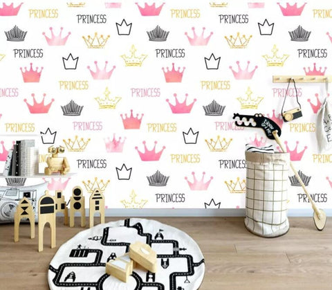 3D Kids, Cartoon, Crown element Wallpaper-Nursery