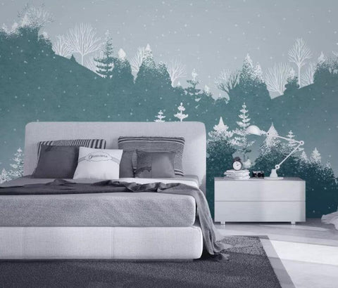 3D Hand painted, Snow mountain, Pine forest Wallpaper