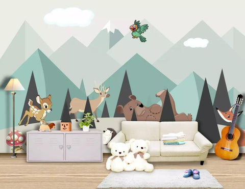 3D Kids, Cartoon, Minimalist, Animal Wallpaper-Nursery