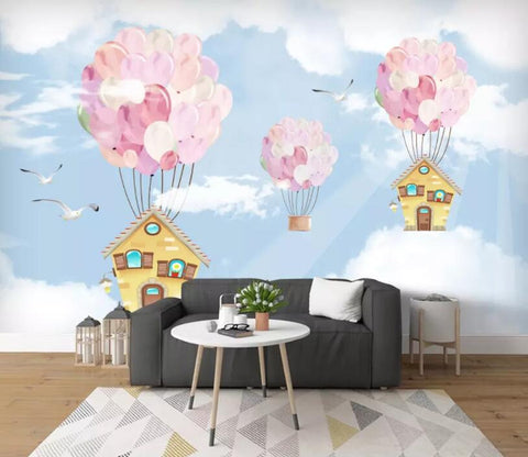 3D Kids, Dreamy, Balloon, House Wallpaper-Nursery
