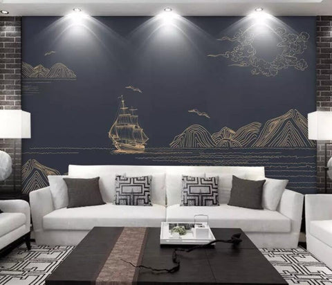 3D Chinese style, Landscape, Golden lines Wallpaper
