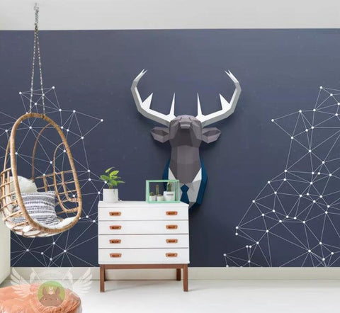 3D Abstract stars, Geometric deer head Wallpaper