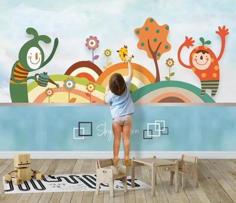 3D Kids, Colorful, Cartoon character Wallpaper-Nursery