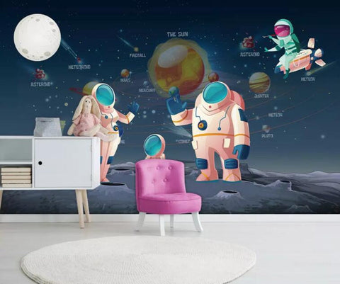 3D Kids, Space, Astronaut Wallpaper-Nursery